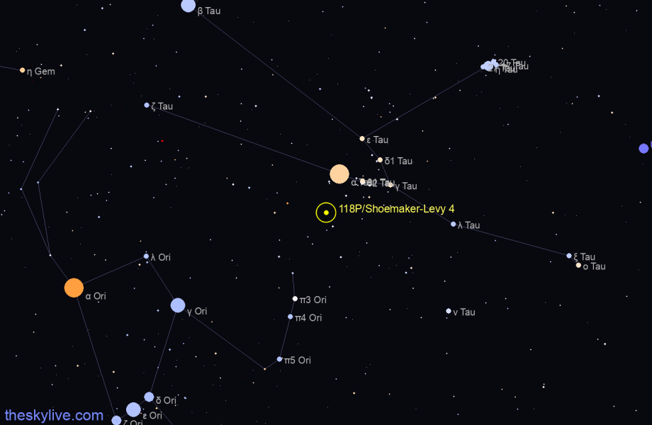 Finder chart of 118P/Shoemaker-Levy 4 in Aquarius on May,06 2021