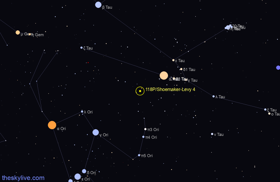 Finder chart of 118P/Shoemaker-Levy 4 in Aquarius on May,07 2021