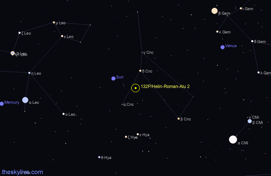 Finder chart of 132P/Helin-Roman-Alu 2 in Aquarius on May,07 2021