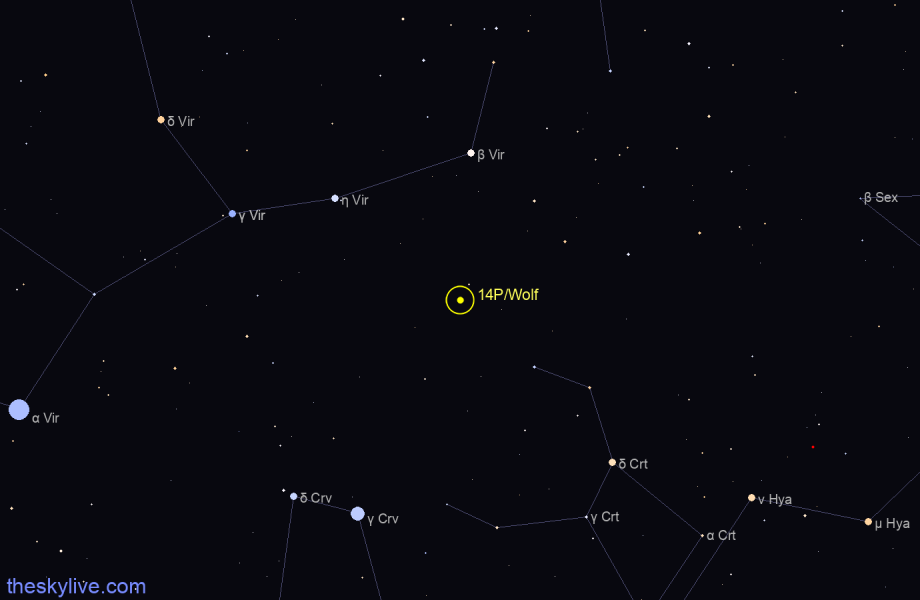 Map of 14P/Wolf in Monoceros on April,08 2020