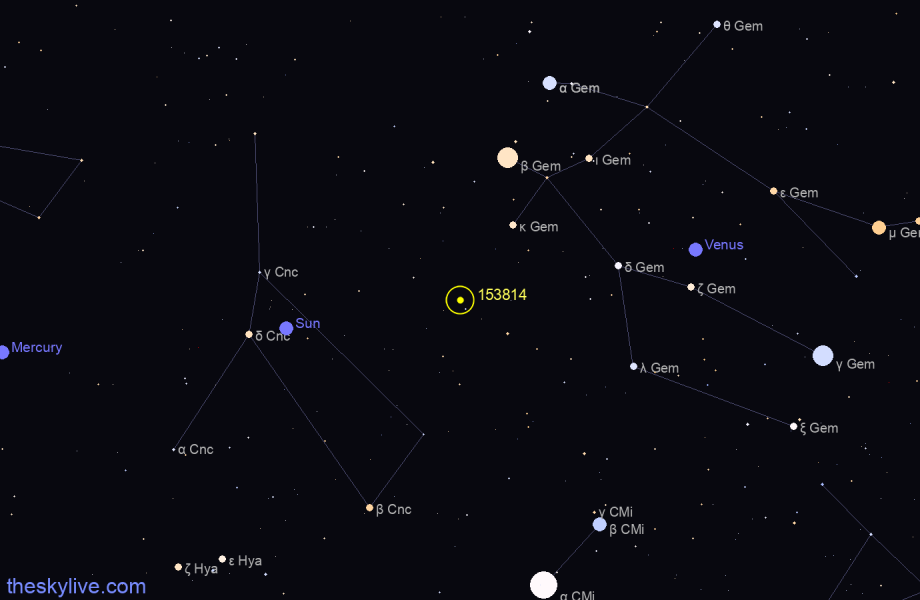 Map of 153814 in Virgo on July,15 2019