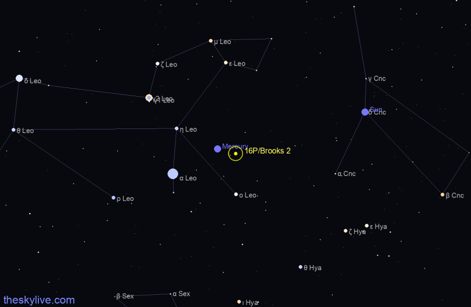 Map of 16P/Brooks 2 in Libra on August,21 2019