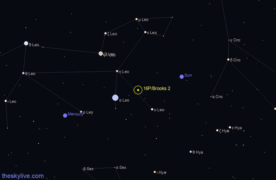 Map of 16P/Brooks 2 in Scorpius on October,21 2019
