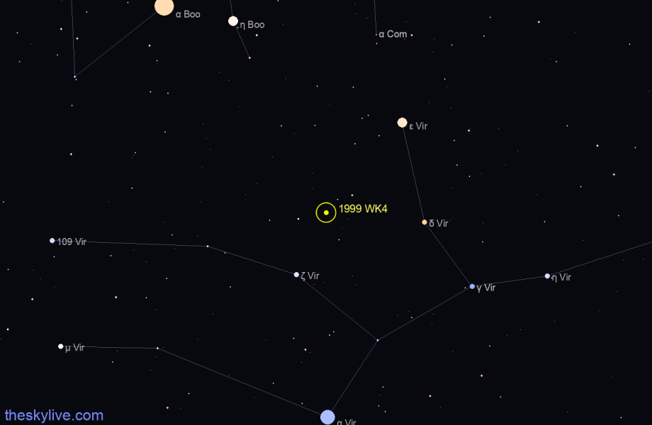 Finder chart of 1999 WK4 in Scorpius on November,26 2020