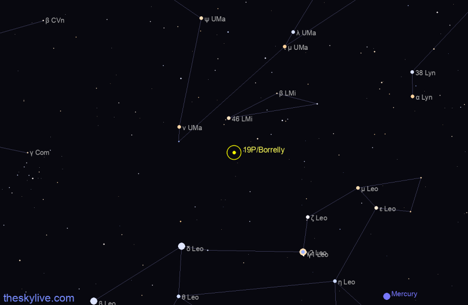 Finder chart of 19P/Borrelly in Sagittarius on January,19 2021