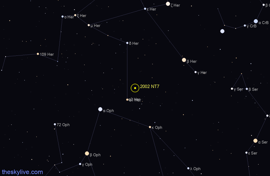 Finder chart of 2002 NT7 in Ophiucus on August,12 2020