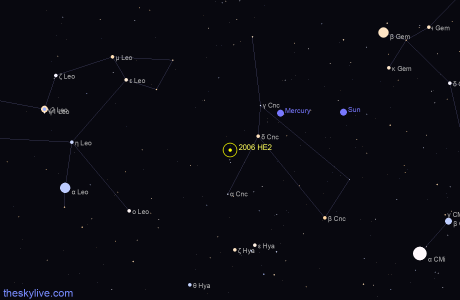 Map of 2006 HE2 in Pisces on January,25 2020