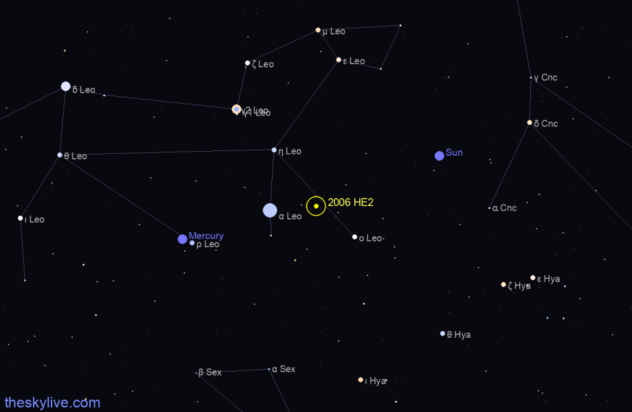 Map of 2006 HE2 in Taurus on March,28 2020