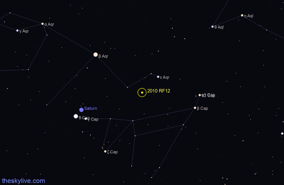 Finder chart of 2010 RF12 in Capricornus on May,08 2021
