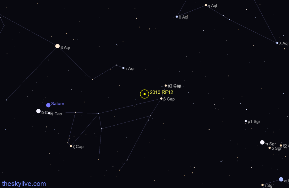 Finder chart of 2010 RF12 in Aquarius on May,18 2021