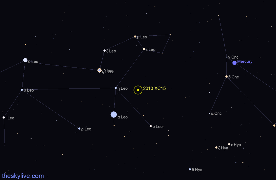 Map of 2010 XC15 in Virgo on November,21 2019