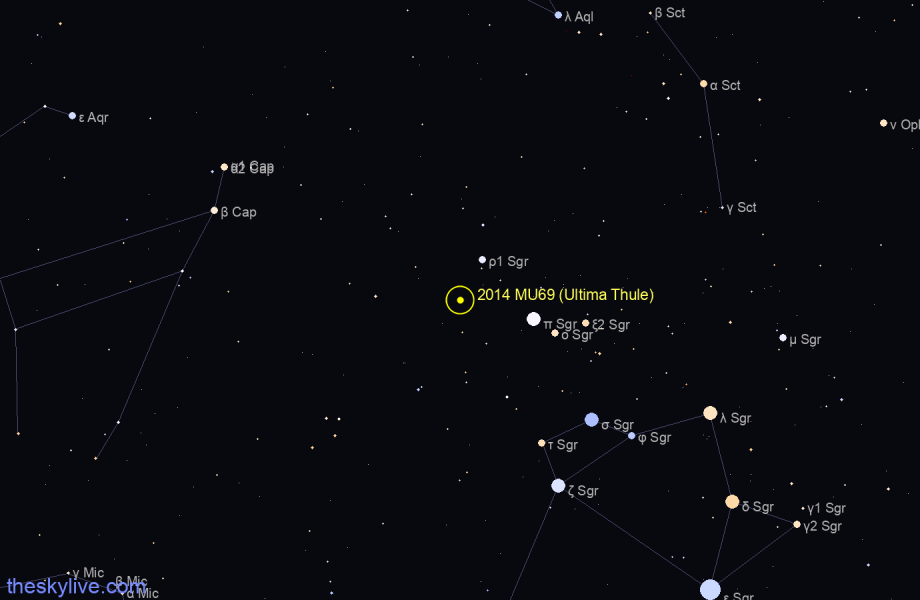 Finder chart of 2014 MU69 (Ultima Thule) in Sagittarius on August,06 2020