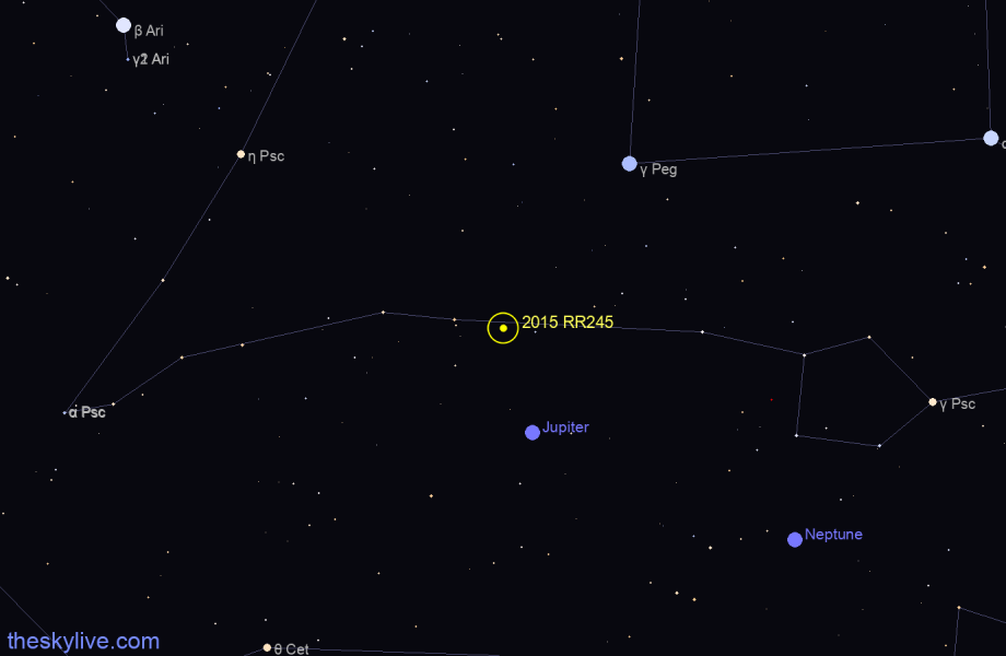 Map of 2015 RR245 in Pisces on October,21 2019