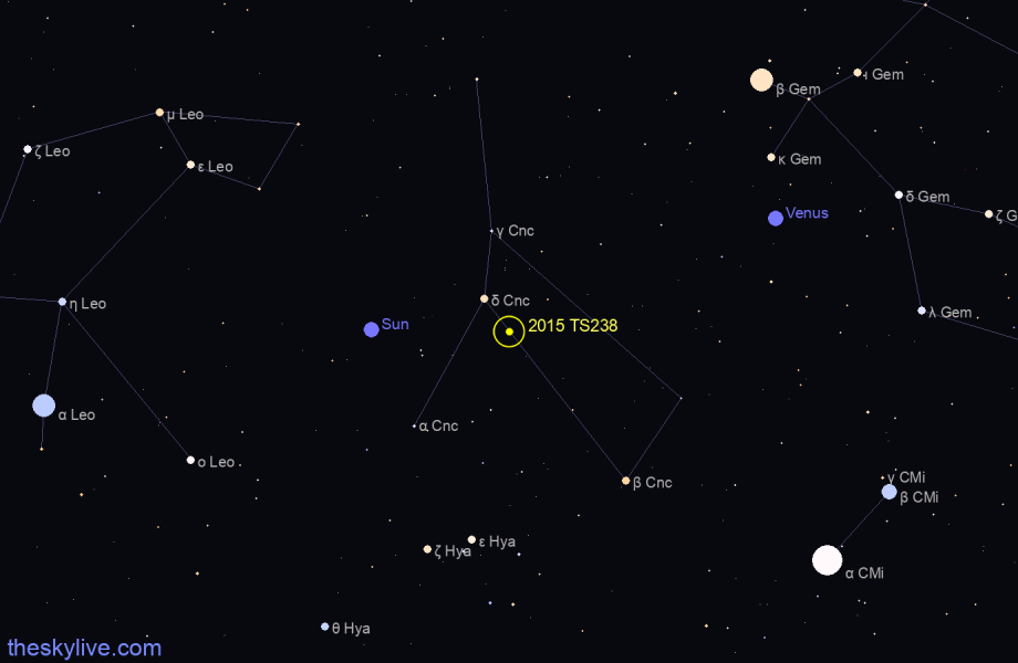 Map of 2015 TS238 in Orion on August,21 2019