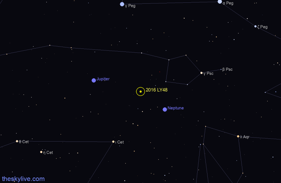 Finder chart of 2016 LY48 in Gemini on March,06 2021