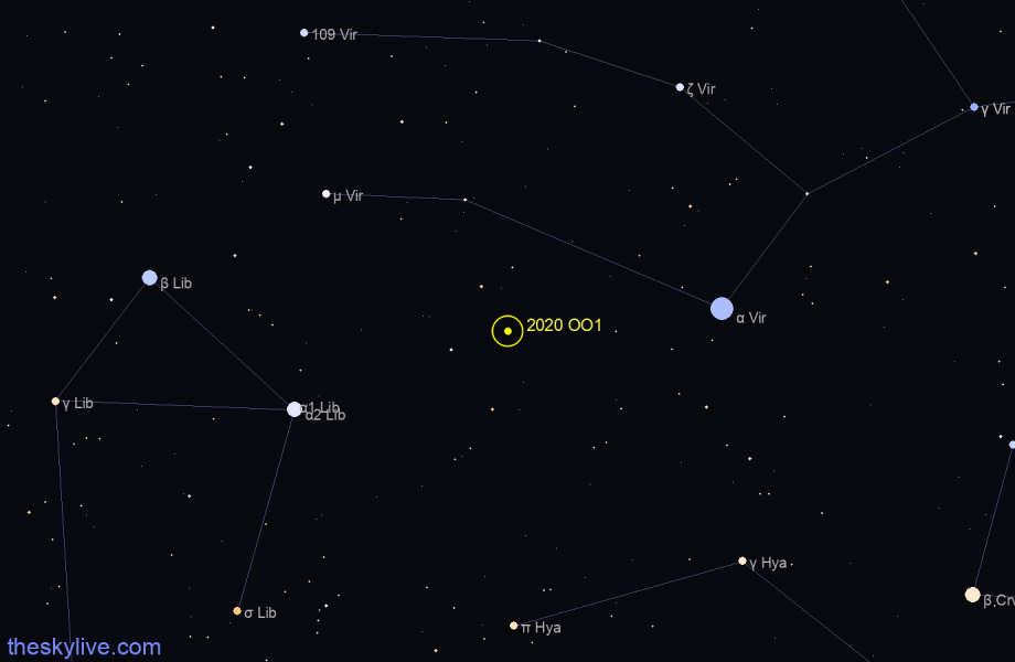 Finder chart of 2020 OO1 in Libra on January,25 2021