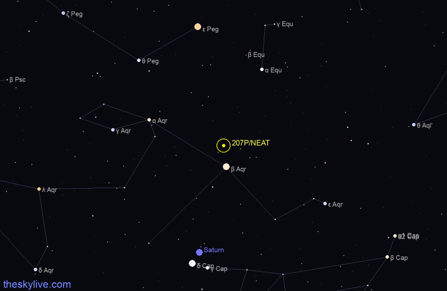 Finder chart of 207P/NEAT in Aquarius on May,07 2021