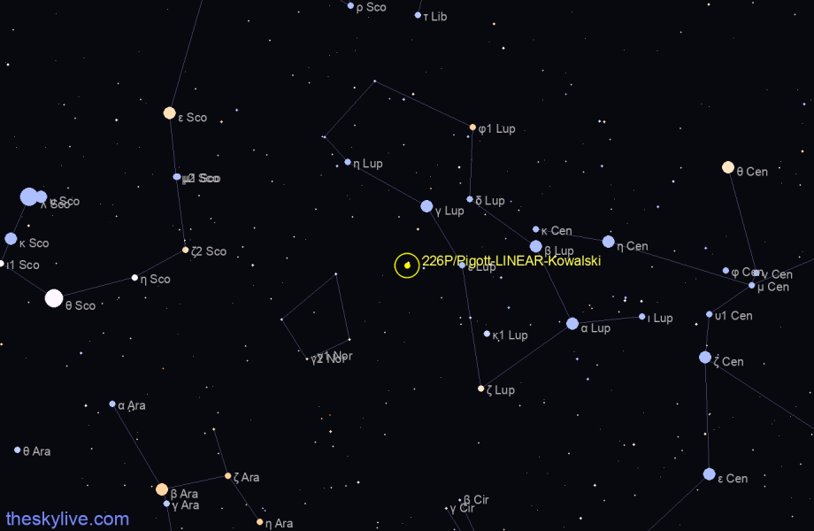Map of 226P/Pigott-LINEAR-Kowalski in  on January,22 2020