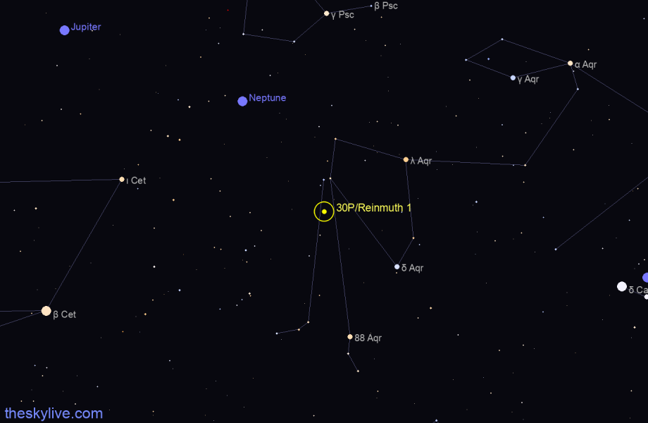 Map of 30P/Reinmuth 1 in Sagittarius on February,21 2020