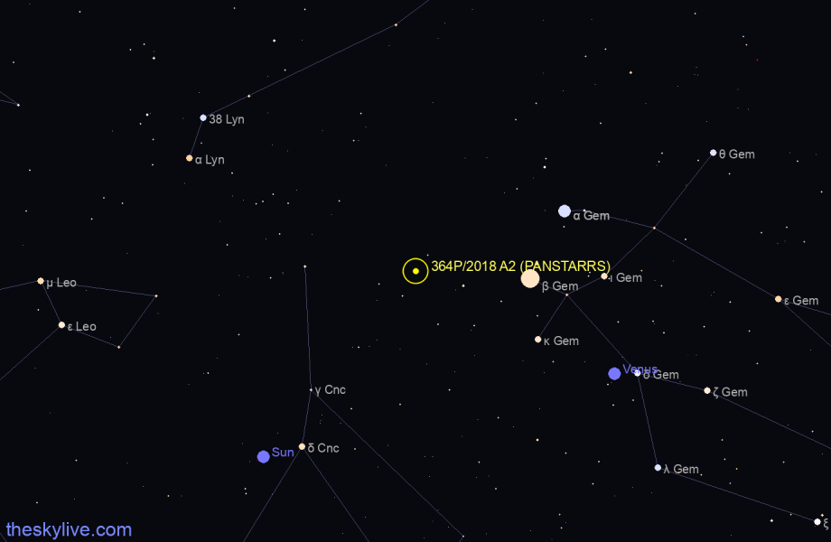 Map of 364P/2018 A2 (PANSTARRS) in Taurus on August,22 2019