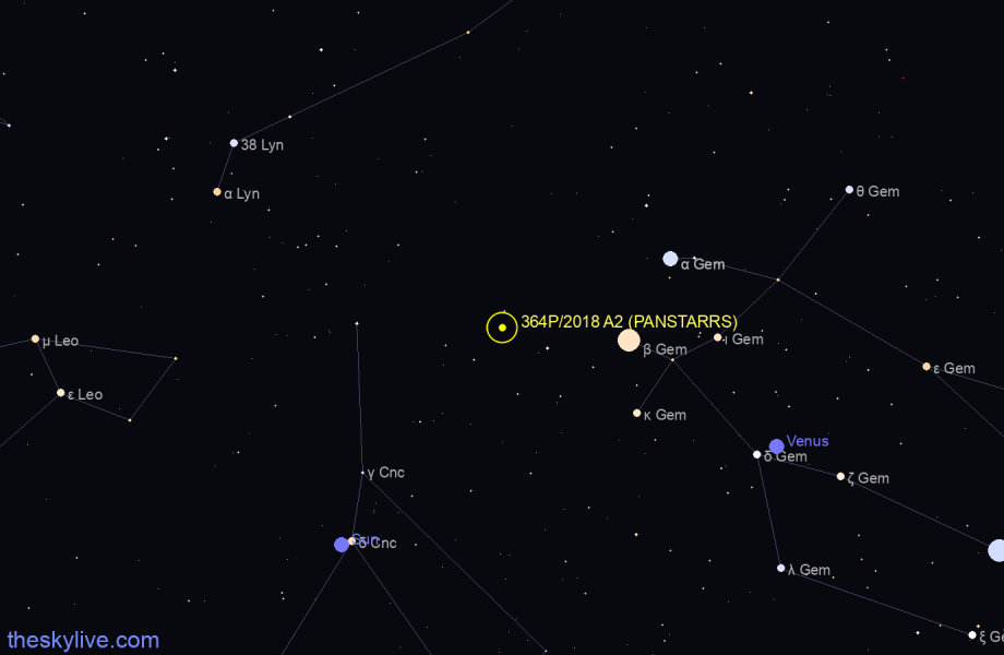 Map of 364P/2018 A2 (PANSTARRS) in Taurus on October,18 2019