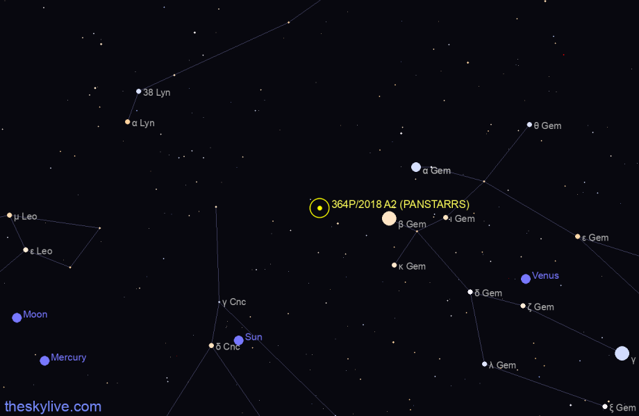 Map of 364P/2018 A2 (PANSTARRS) in Taurus on March,29 2020
