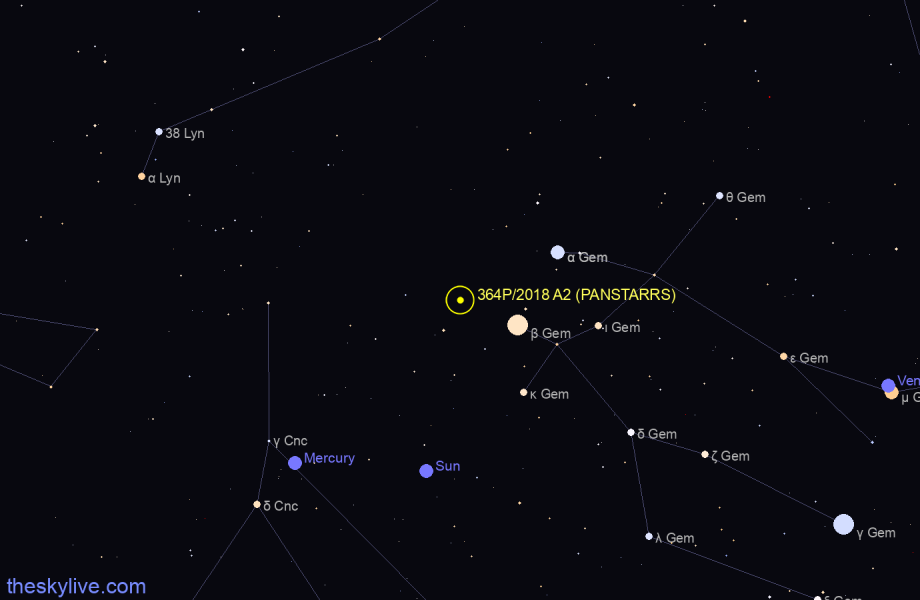 Finder chart of 364P/2018 A2 (PANSTARRS) in Taurus on August,07 2020