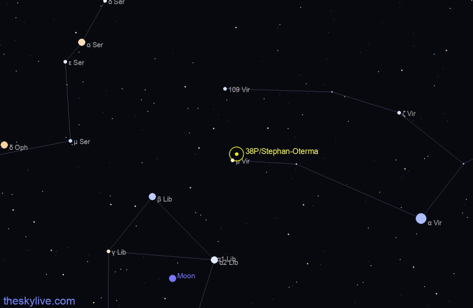 Map of 38P/Stephan-Oterma in Leo on August,23 2019
