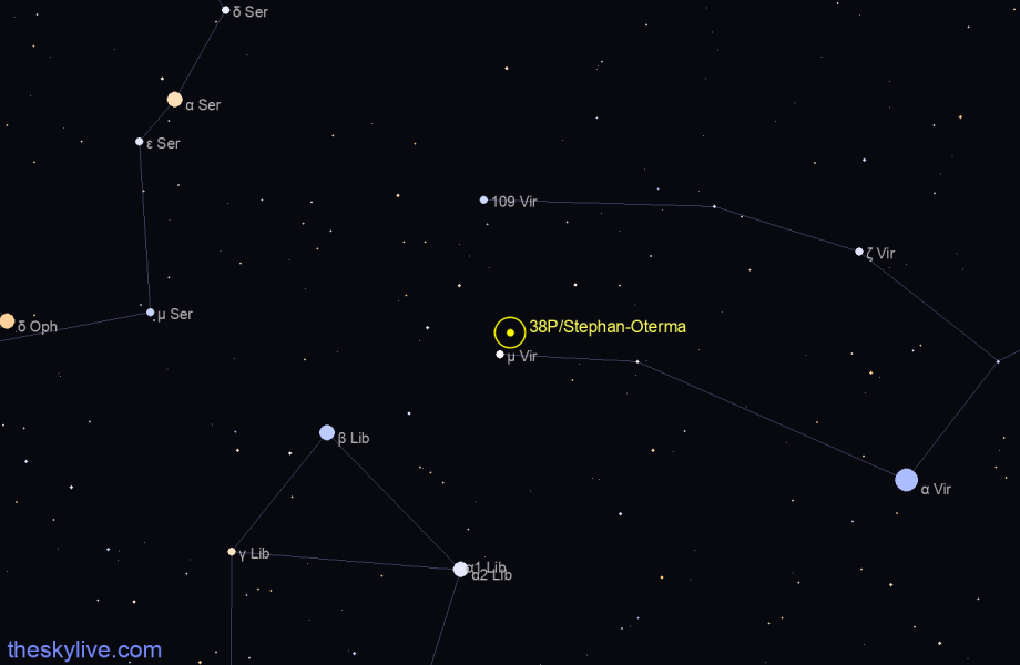 Map of 38P/Stephan-Oterma in Virgo on January,19 2020