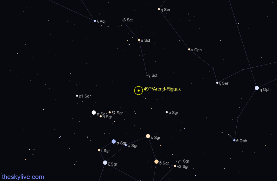 Map of 49P/Arend-Rigaux in Virgo on August,21 2019