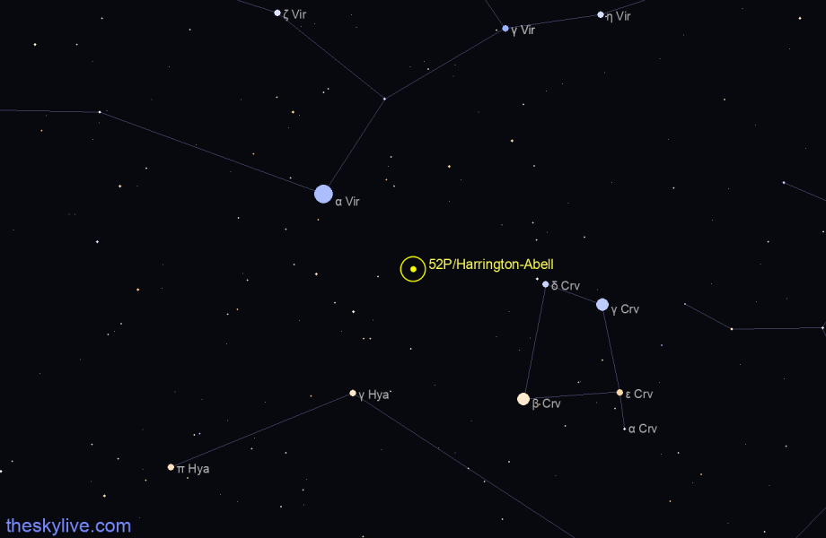 Finder chart of 52P/Harrington-Abell in Pisces on August,06 2020