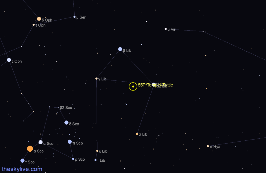 Map of 55P/Tempel-Tuttle in Libra on April,04 2020