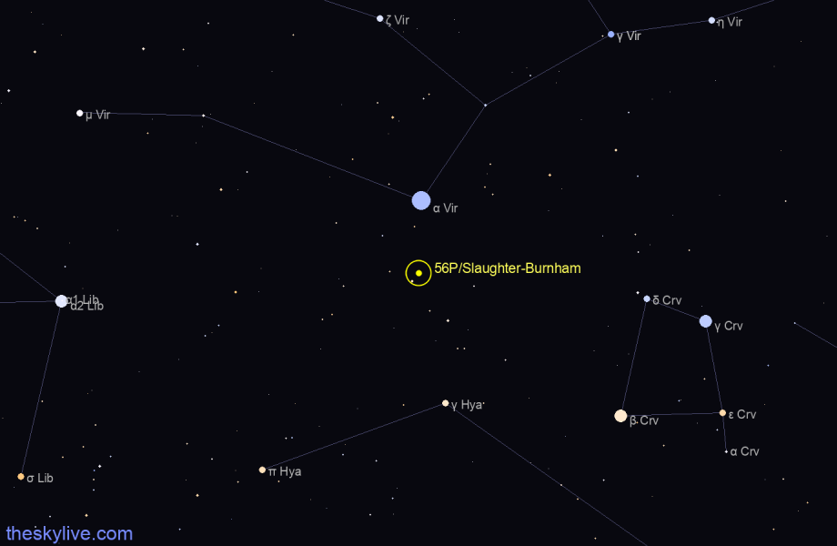 Finder chart of 56P/Slaughter-Burnham in Virgo on May,16 2021