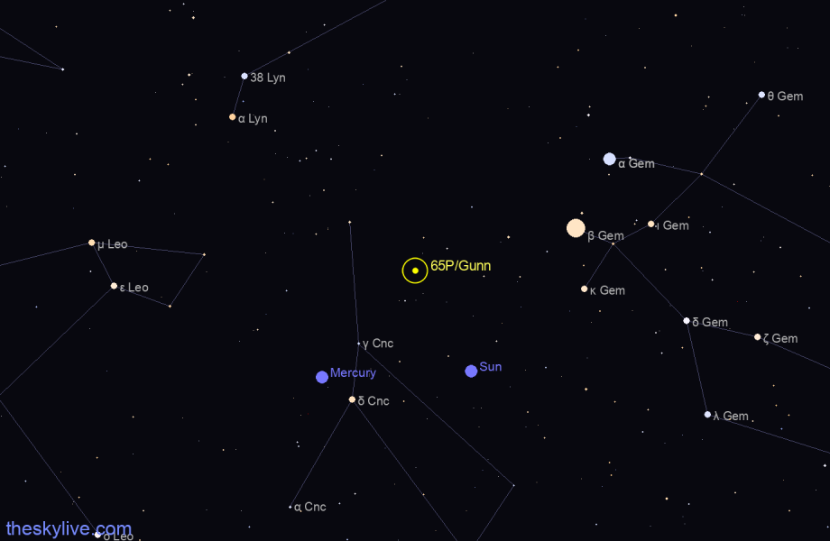 Map of 65P/Gunn in Cetus on October,18 2019