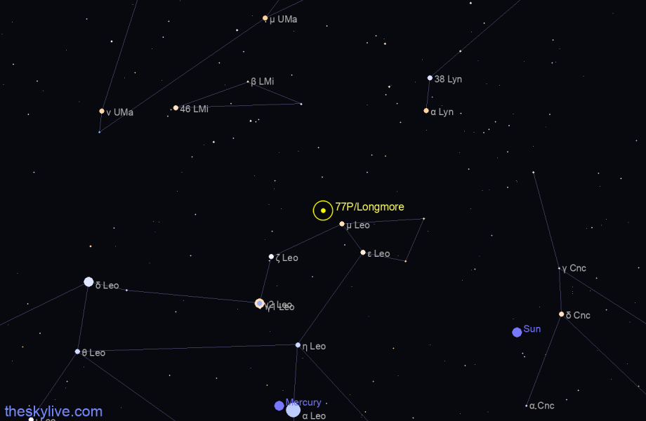 Map of 77P/Longmore in Pisces on February,24 2020