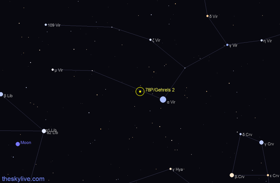 Finder chart of 78P/Gehrels 2 in Virgo on May,12 2021