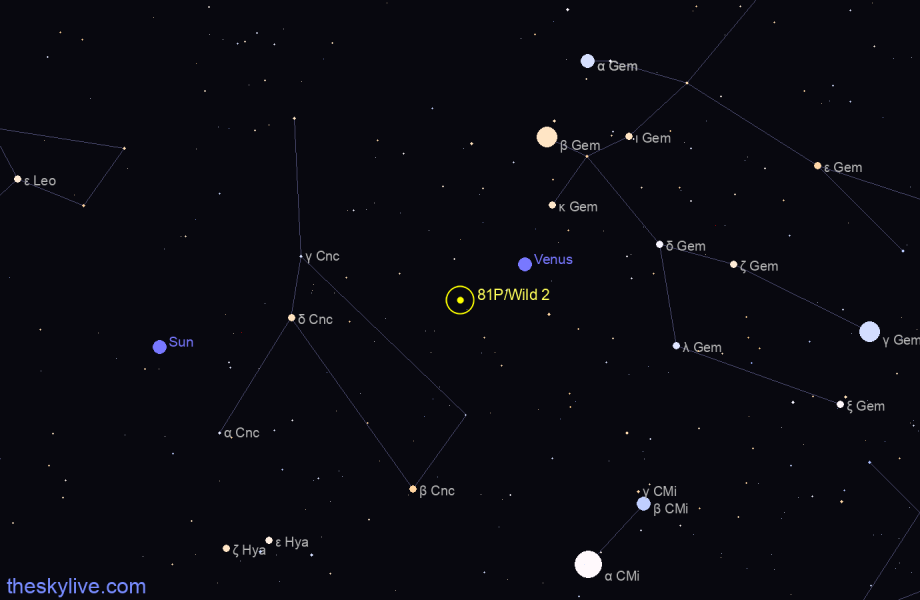 Map of 81P/Wild 2 in Pisces on July,24 2019