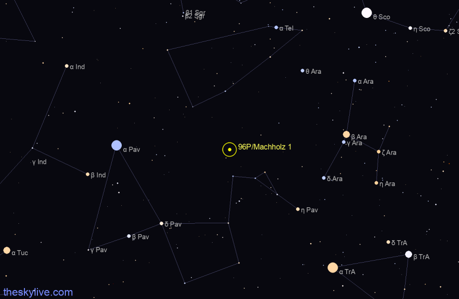Finder chart of 96P/Machholz 1 in Sagittarius on May,16 2021