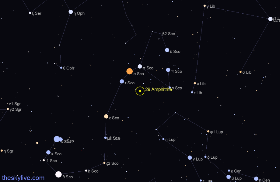 Map of 29 Amphitrite in Pisces on November,21 2019