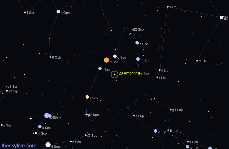 Finder chart of 29 Amphitrite in Gemini on August,04 2020