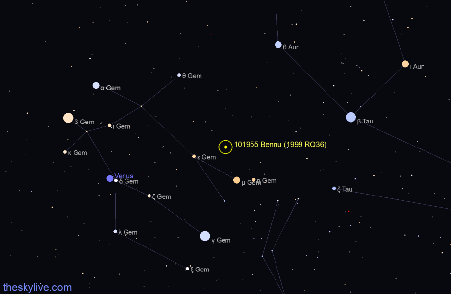 Map of 101955 Bennu (1999 RQ36) in Leo on June,25 2019
