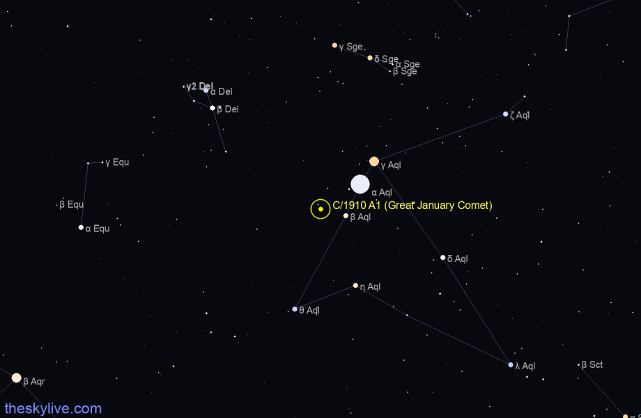 Finder chart of C/1910 A1 (Great January Comet) in Aquila on January,21 2021