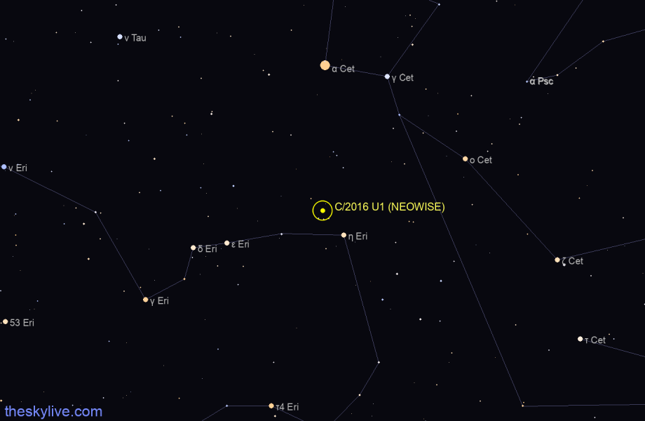 C/2016 U1 (NEOWISE) in Pisces on February,20 2017