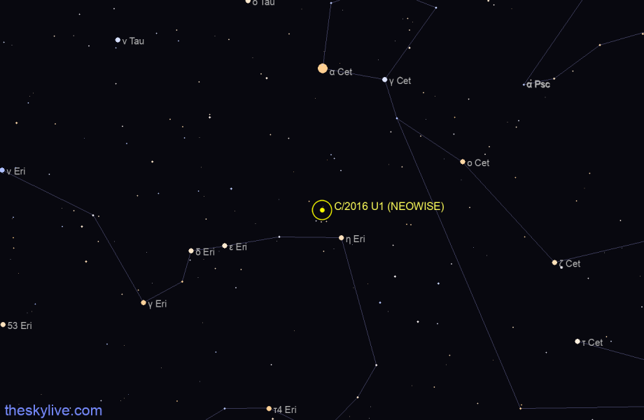 Map of C/2016 U1 (NEOWISE) in Cetus on April,04 2020