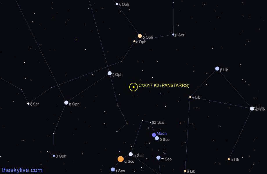 C/2017 K2 (PANSTARRS) in Draco on April,22 2018