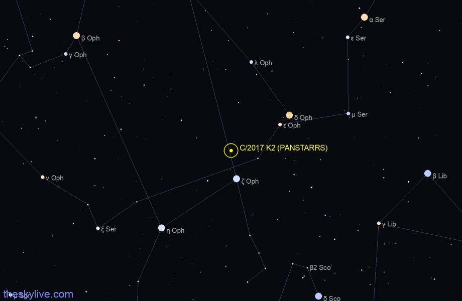 Finder chart of C/2017 K2 (PANSTARRS) in Hercules on January,21 2021