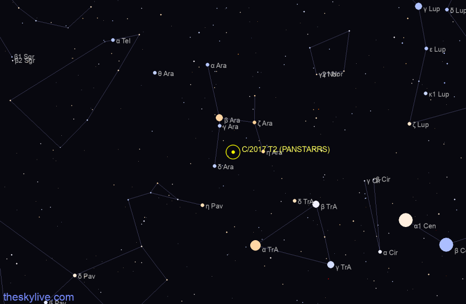 Finder chart of C/2017 T2 (PANSTARRS) in Scorpius on May,17 2021