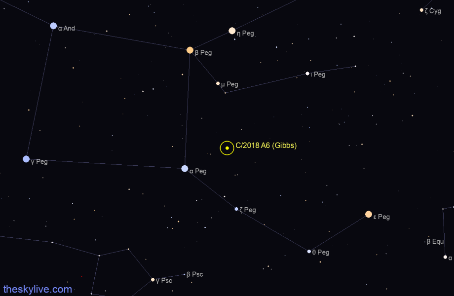 Finder chart of C/2018 A6 (Gibbs) in Pisces Austrinus on October,25 2020