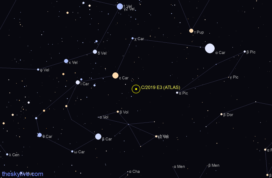 Finder chart of C/2019 E3 (ATLAS) in Vela on May,16 2021