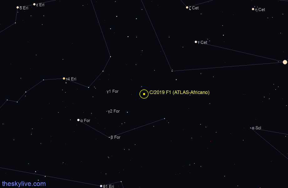 Finder chart of C/2019 F1 (ATLAS-Africano) in Centaurus on October,28 2020